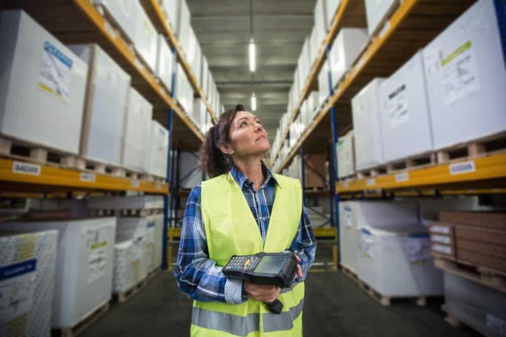 Warehouse Worker with Radio Frequency Wireless Device